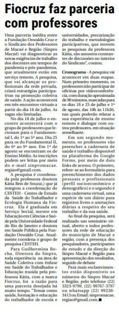 Jornal O Fluminense noticia parceiria de Sinpro Macaé e Região com a FIOCRUZ