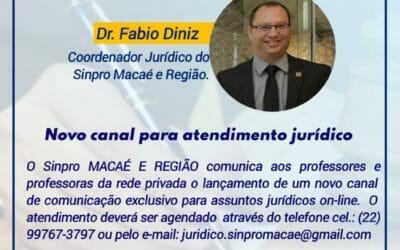 NOVO CANAL DE ATENDIMENTO JURÍDICO SINPRO MACAÉ E REGIÃO