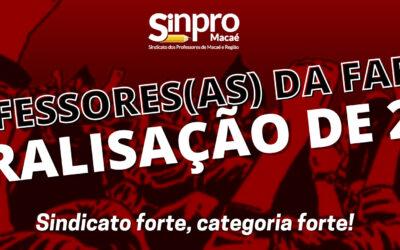 Professores da Fafima paralisam atividades por 24 horas no próximo dia 26 de novembro.