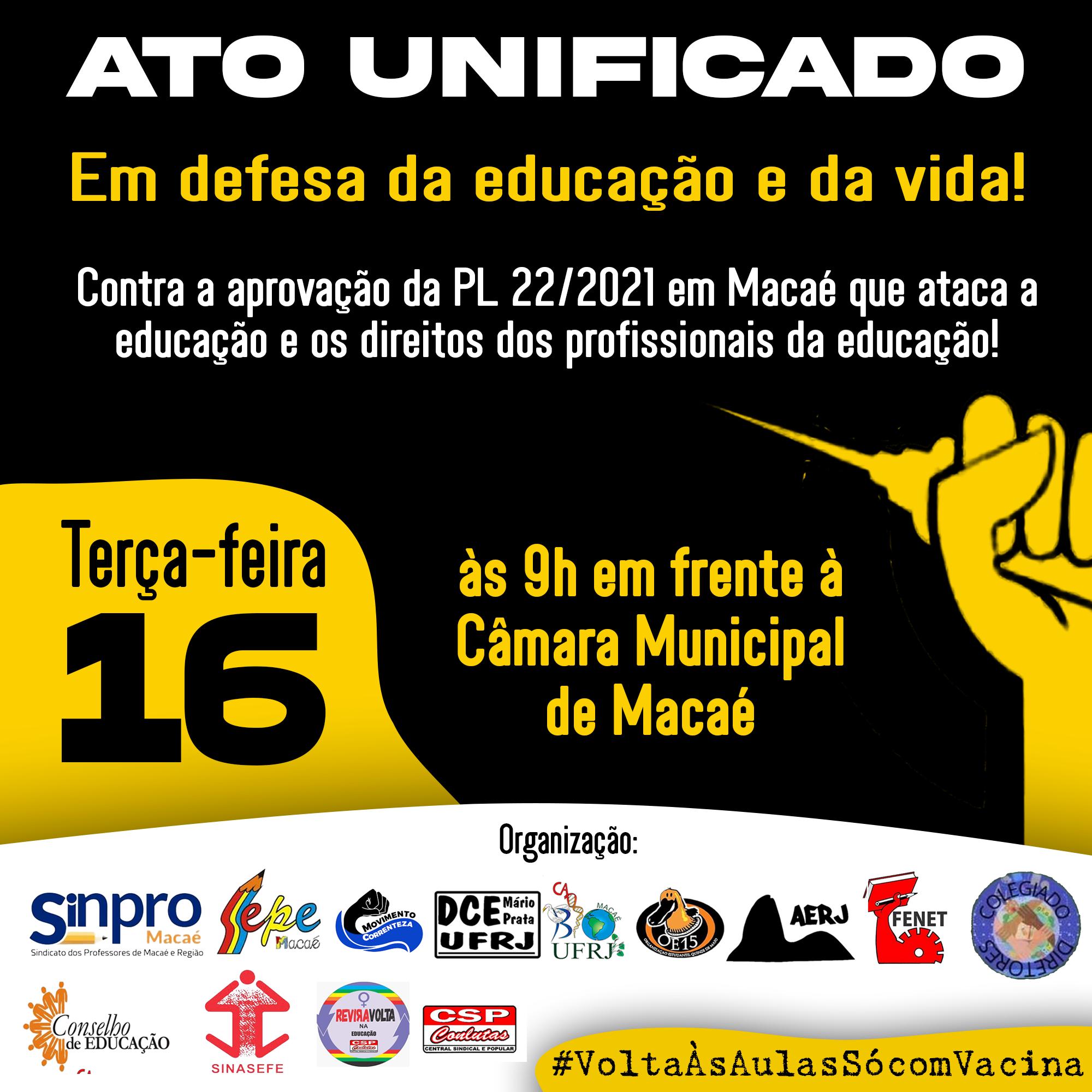 Card de convocação | Dia 16 de março às 9h em frente a Câmara Municipal de Macaé