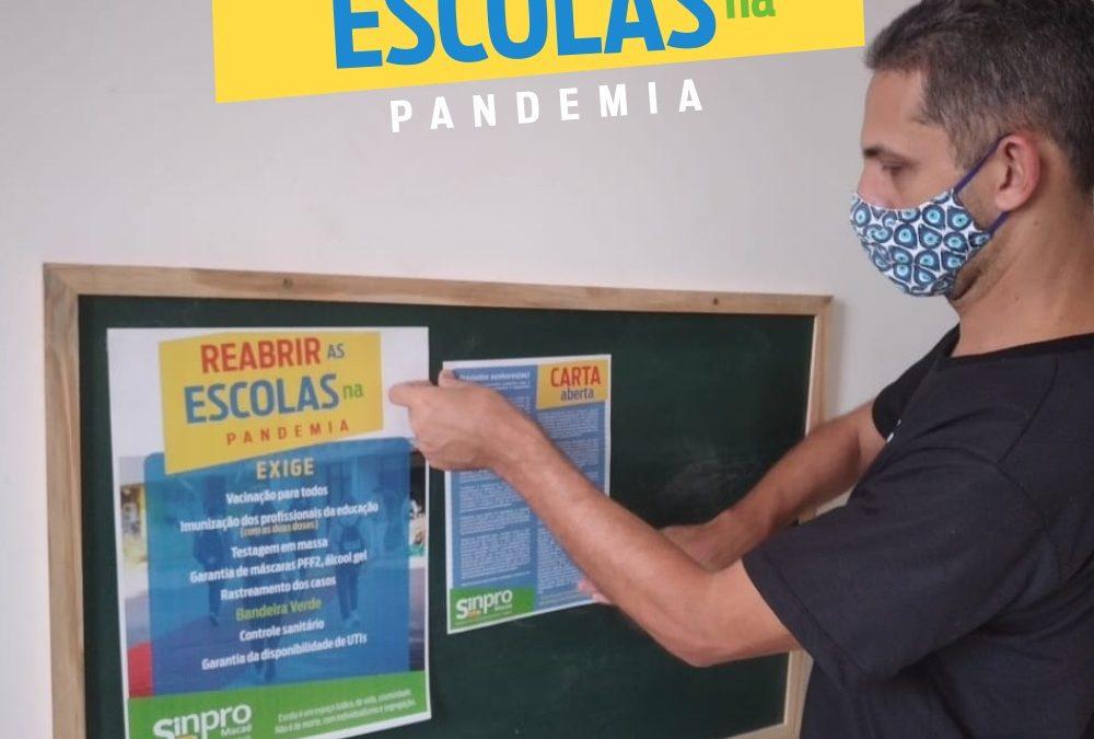 Sinpro Macaé e Região lança campanha contra a reabertura das escolas sem a imunização completa dos docentes