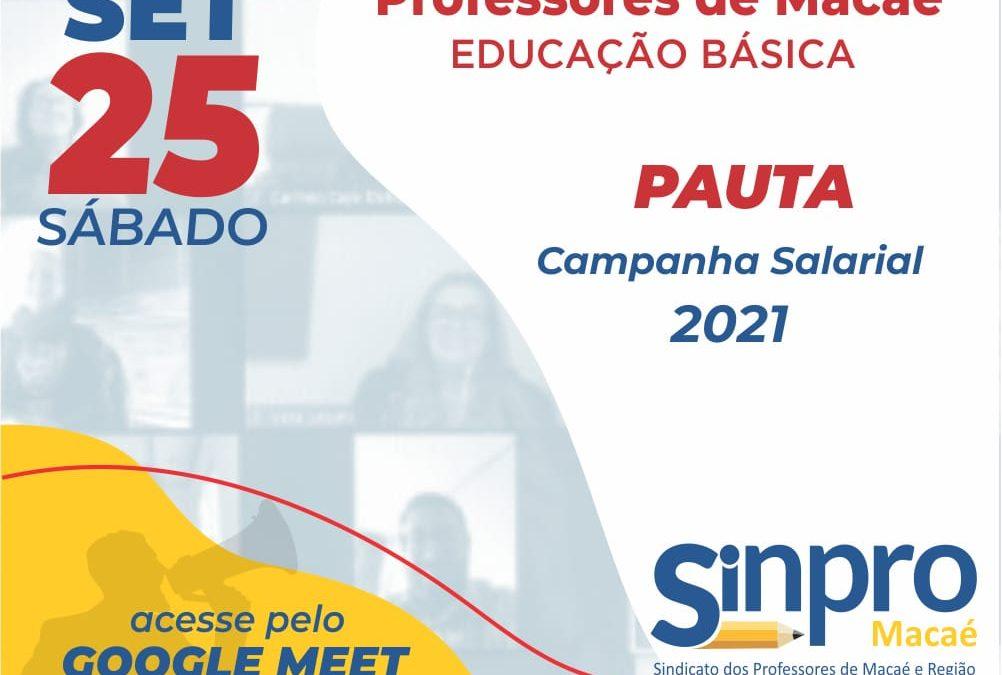 Campanha Salarial: Sinpro Macaé e Região convoca assembleia dos professores da educação básica de Macaé