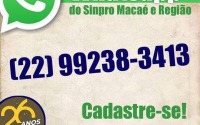 CADASTRE O WHATSAPP DO SINPRO MACAÉ E REGIÃO NO SEU CELULAR